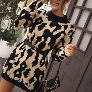 Leopard Print Longline Sweater